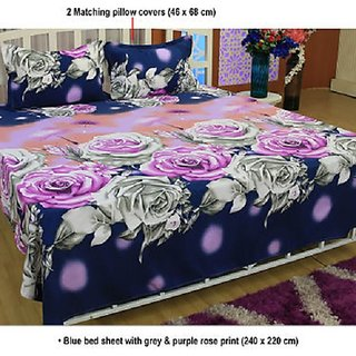 K Decor Polycotton 3D Double bedsheet with 2 Pillow Covers Multicolor ( PL-010)