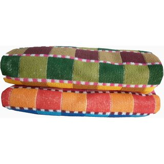 NEW MULTI COLOR PURE COTTON CHECK DESIGN SET OF 2 FULL SIZE FANCY BATH TOWEL (SIZE 48 inch-24 inch) MC3136