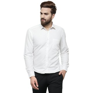 RG Designers White Solid Slim Fit Full Sleeve Cotton Formal Shirt