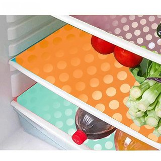 Refrigerator Drawer Mats/Fridge Mats/Multi Purpose Mats Set Of 6 Pcs In Coin Design  (Multicolor, Medium)