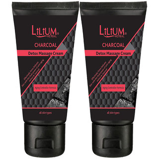 Lilium Herbal Charcoal Detox Massage Cream Ageing Controller Formula (Pack of 2)