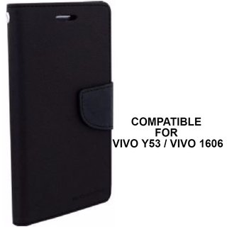huge discount 07c58 6dcb6 MOBIMON Luxury Mercury Magnetic Lock Diary Wallet Style Flip Cover Case for  VIVO Y53 - Black