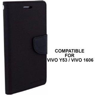 MOBIMON Luxury Mercury Magnetic Lock Diary Wallet Style Flip Cover Case for VIVO Y53 - Black