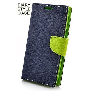 MOBIMON Luxury Mercury Magnetic Lock Diary Wallet Style Flip Cover Case for VIVO Y55 - Blue