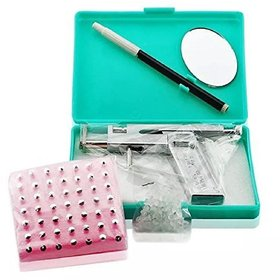 Professional Stainless Steel Ear Nose Body Piercing Gun Shots Tool Kit Set + 72pcs Studs Set