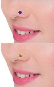 PeenZone 92.5 Silver Multi color Nosepin Stud Set For Women  Girls