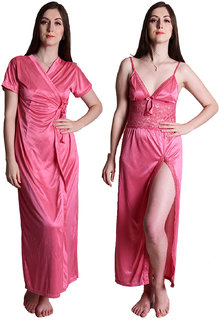 4d56460b23 Senslife Satin Solid Purple Nightwear Sleepwear 2pc Set of Nighty Wrap Gown  SL003A