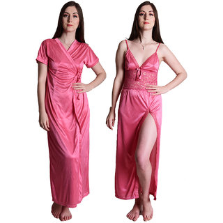 Senslife Satin Solid Purple Nightwear Sleepwear 2pc Set of Nighty  Wrap Gown SL003A