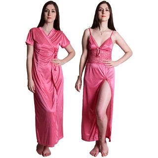 Senslife Satin Solid Purple Nightwear Sleepwear 2pc Set of Nighty Wrap Gown  SL003A 328aedeb1
