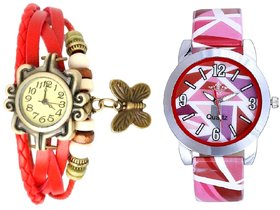 Pink Multi Colour Isolatic Design With Red Butterfly Ex