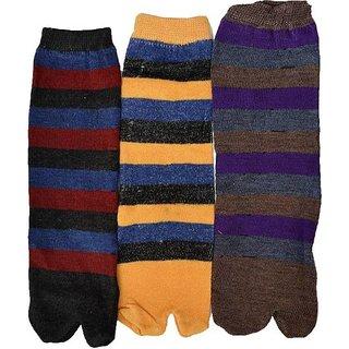 Tahiro Multicolour Striped Cotton Casual No Show Socks - Pack of 3