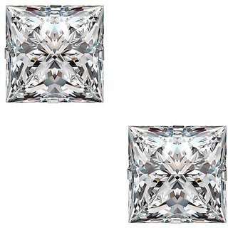 PeenZone 92.5 Silver White Square Cubic Zirconia Ear Tops For Women  Girls