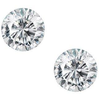 PeenZone 92.5 Silver White Cubic Zirconia Ear Tops For Women  Girls