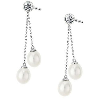 PeenZone 92.5 Silver Pearl Sui Dhaaga Ear Tops (Stud Earrings) For Women  Girls