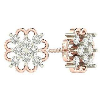 PeenZone 18k Rose Gold Plated Flower Ear Tops For Women  Girls