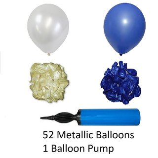 Blue And White Metallic Balloons With Balloon Pump For Birthday Decorations Quantity 52