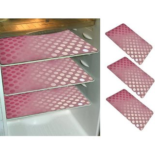 Refrigerator Drawer Mats/Fridge Mats/Multi Purpose Mats/Place Mats Set Of 6 Pcs In Coin Design  (Pink, Medium)
