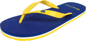 United Colors Of Benetton Mens Blue And Yellow Flip Flo