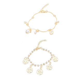 FashBlush Golden Round Flower Cubic Zirconia Charms Anklets (Pack of 2)