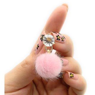 Gemma Royal Small Pink pom pom  Crystal  Drop  Earring women Girls Gift Party Casual