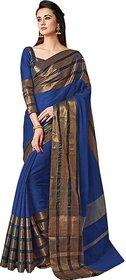 Striped Fashion Cotton Silk Saree  (Multicolor)