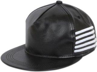 BEZAL Black Leather Side Line Hip Hop Snapback Cap