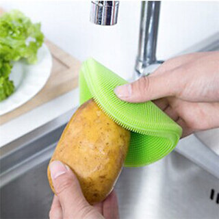 SILICONE DISH BOWL VEGETABLE FRUIT CLEANING BRUSH size 12cm thickness 15mm