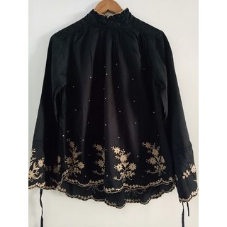 Black top embroidered full sleeves high neck