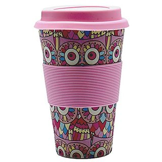 ZEVORA Bamboo Fibre Travel Mug/Cup with Silicone Lid Sleeve Light Pink Printed - 400 ml
