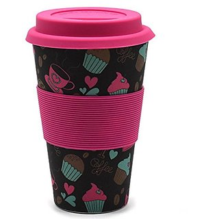 ZEVORA Bamboo Fibre Travel Mug/Cup with Silicone Lid Sleeve Dark Pink Printed - 400 ml