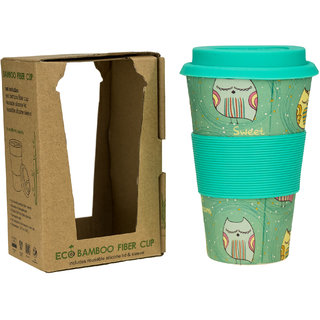 ZEVORA Bamboo Fibre Travel Mug/Cup with Silicone Lid Sleeve Light Green Printed - 400 ml