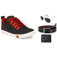 Lavista Men's Black Casual Shoe Combo