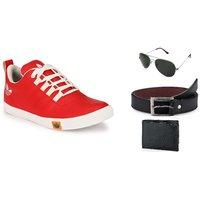 Lavista Men's Red Casual Shoe Combo