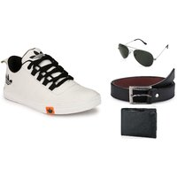Lavista Men's White Casual Shoe Combo