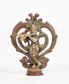 Arihant Craft Hindu God Krishna Idol Kanha Statue  Kanahiya Sculpture Hand Craft Showpiece  21 cm (Brass, Red, Green)
