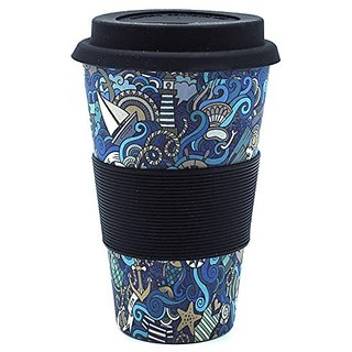 ZEVORA Bamboo Fibre Travel Mug/Cup with Silicone Lid Sleeve Black Printed - 400 ml