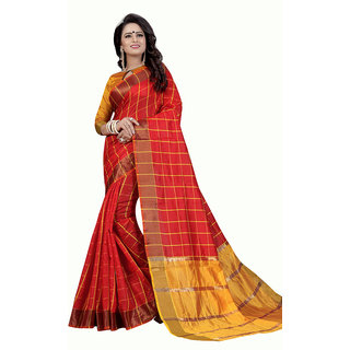 Swaron Red and Yellow Colored Checks Woven Festive Wear Chanderi Cotton Saree with Unstitched Blouse