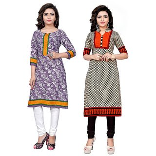The Four Hundred Multicolor Printed Polycotton Unstitched Kurti (Pack of 2)