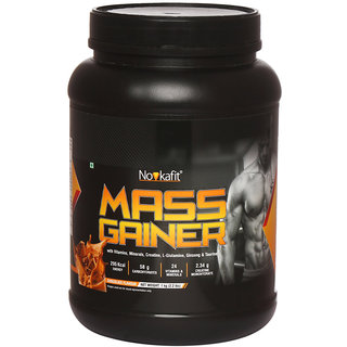 Novkafit Mass Gainer with Creatine, L-Glutamine, Ginseng, 24 Vitamins  Minerals  1 kg (2.2 lbs), Chocolate Flavour