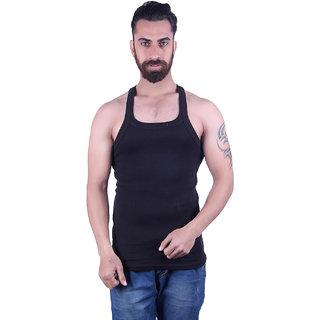 Odoky 100% Cotton Fabric Black Mens Vest