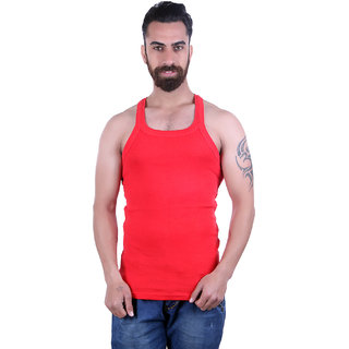 Odoky 100% Cotton Fabric Red Mens Vest