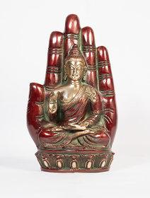 Arihant Craft Ethnic Decor Lord Buddha Idol Statue Sculpture Showpiece  23.5 cm (Brass, Red, Green)