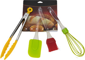 ZEVORA Silicone Kitchen Set 4 Piece Cooking Tool And Gadget Set Baking Whisk Brush Spatula D-01 Multi-color