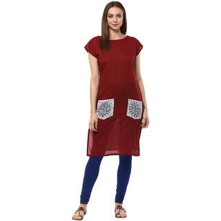 Ziyaa Casual Wear Maroon Coloured Kurta