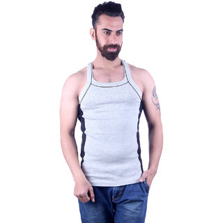 Odoky 100% Cotton Fabric Grey Mens Vest