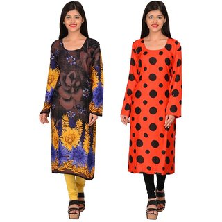 Nakoda Creation Pack of 2 Women's Rayon Unstitched Multicolor Printed Kurti Fabric(Fabric only for Top)