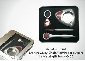 Q-05 EXOTIC 4 IN 1 GIFT SET(KEY CHAIN,PEN,PAPER CUTTER