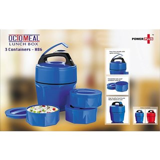 H-86 POWER PLUS OCTOMEAL LUNCH BOX(3 PLASTIC CONTAINERS)(ASSORTED COLOUR)PIECE 1