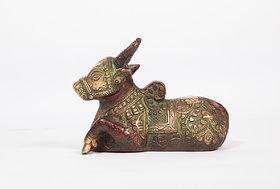 Arihant Craft Hindu God Shiva Vahan Nandi Idol Statue Nandee Sculpture Hand Work Showpiece  10 cm (Brass, Red, Green)