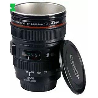 Camera Lens Mug Stainless Steel Tea Coffee Mug with Lid 14.7 cm